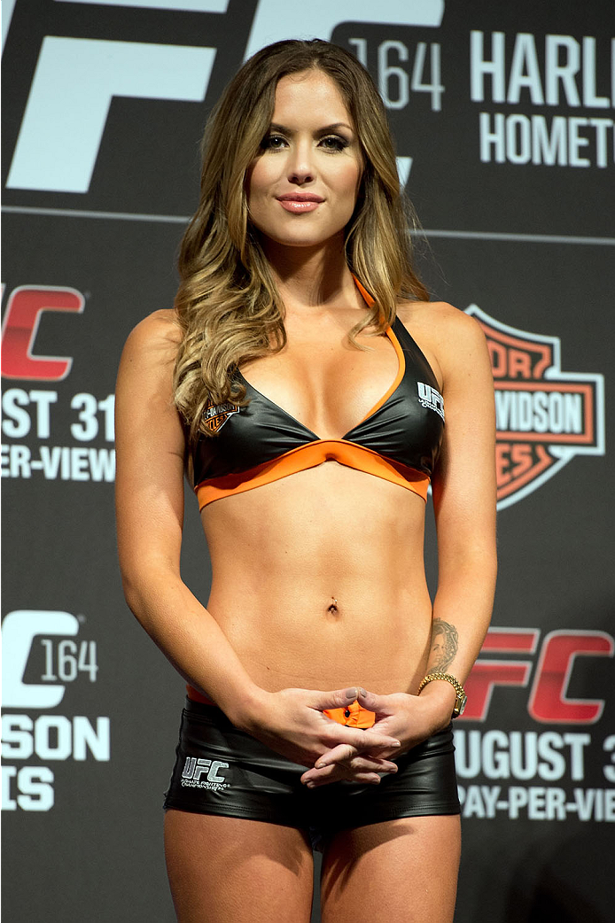 MILWAUKEE, WI - AUGUST 30:  UFC Octagon Girl Brittney Palmer stands on stage during the UFC weigh-in inside the BMO Harris Bradley Center on August 30, 2013 in Milwaukee, Wisconsin. (Photo by Jeff Bottari/Zuffa LLC/Zuffa LLC via Getty Images) *** Local Caption *** Brittney Palmer