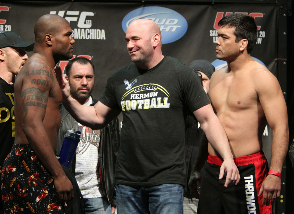 Light Heavyweight opponents Quinton &quot;Rampage&quot; Jackson (L) and Lyoto &quot;The Dragon&quot; Machida have to be separated by UFC President Dana White at the UFC 123 weigh-in at the Palace of Auburn Hills on November 19, 2010 in Auburn Hills, Michigan.  (Photo by Josh Hedges/Zuffa LLC/Zu