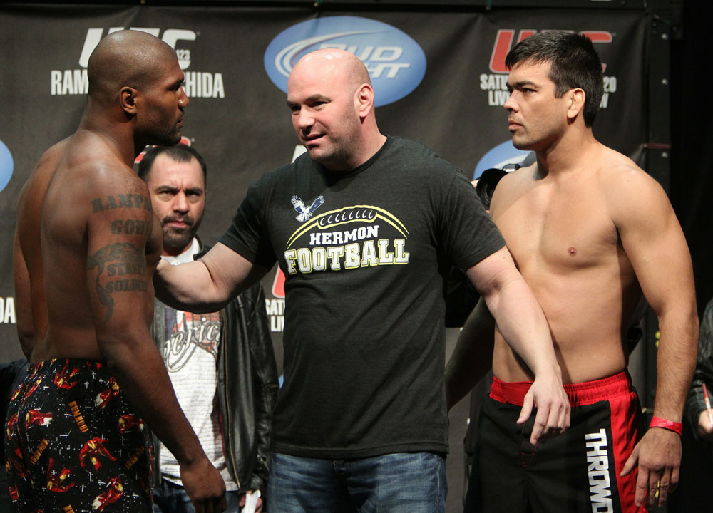 "Light Heavyweight opponents Quinton ""Rampage"" Jackson (L) and Lyoto ""The Dragon"" Machida have to be separated by UFC President Dana White at the UFC 123 weigh-in at the Palace of Auburn Hills on November 19, 2010 in Auburn Hills, Michigan.  (Photo by Josh Hedges/Zuffa LLC/Zu"