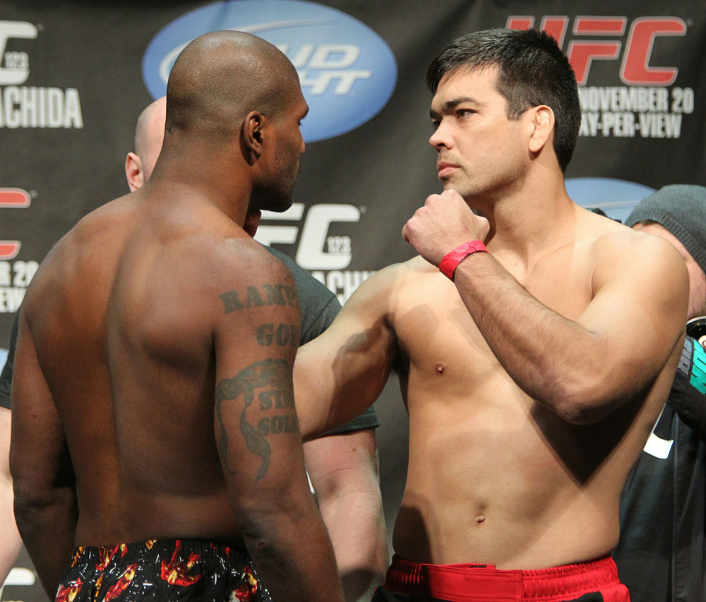 "Light Heavyweight opponents Quinton ""Rampage"" Jackson (L) and Lyoto ""The Dragon"" Machida face off at the UFC 123 weigh-in at the Palace of Auburn Hills on November 19, 2010 in Auburn Hills, Michigan.  (Photo by Josh Hedges/Zuffa LLC/Zuffa LLC via Getty Images)"
