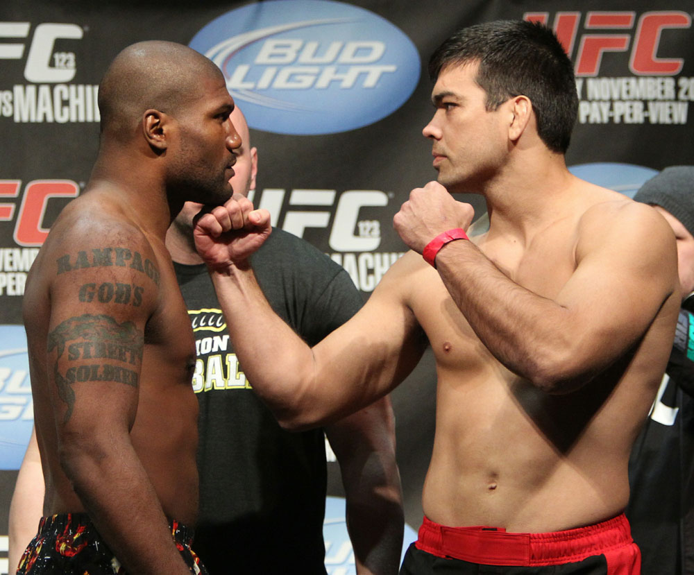 Light Heavyweight opponents Quinton &quot;Rampage&quot; Jackson (L) and Lyoto &quot;The Dragon&quot; Machida face off at the UFC 123 weigh-in at the Palace of Auburn Hills on November 19, 2010 in Auburn Hills, Michigan.  (Photo by Josh Hedges/Zuffa LLC/Zuffa LLC via Getty Images)