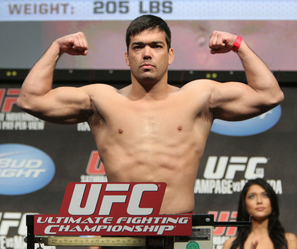 "Lyoto ""The Dragon"" Machida weighs in at 205 lbs at the UFC 123 weigh-in at the Palace of Auburn Hills on November 19, 2010 in Auburn Hills, Michigan.  (Photo by Josh Hedges/Zuffa LLC/Zuffa LLC via Getty Images)"
