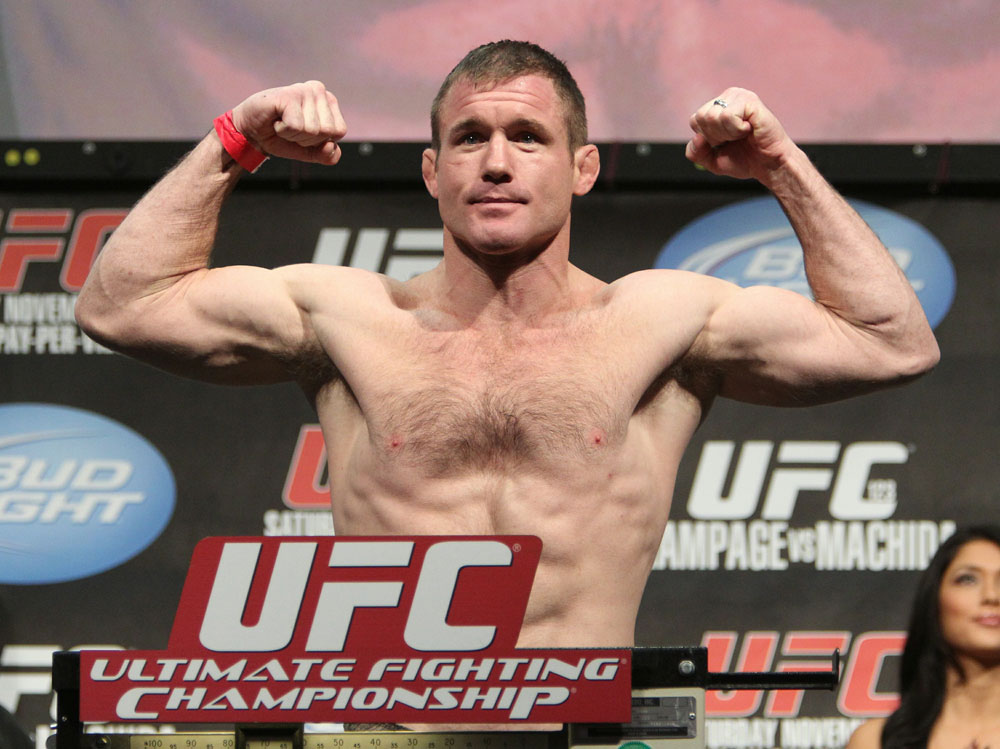 Matt Hughes weighs in at 169 lbs at the UFC 123 weigh-in at the Palace of Auburn Hills on November 19, 2010 in Auburn Hills, Michigan.  (Photo by Josh Hedges/Zuffa LLC/Zuffa LLC via Getty Images)