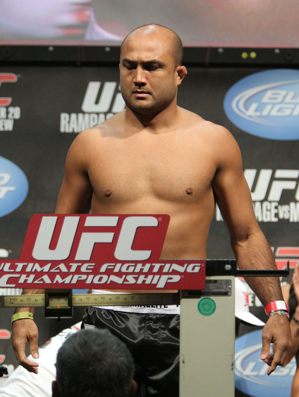 BJ Penn weighs in at 169 lbs at the UFC 123 weigh-in at the Palace of Auburn Hills on November 19, 2010 in Auburn Hills, Michigan.  (Photo by Josh Hedges/Zuffa LLC/Zuffa LLC via Getty Images)