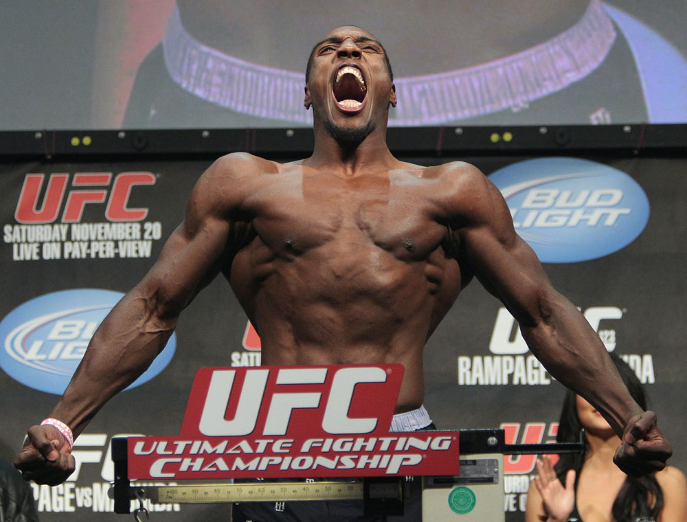 Phil Davis weighs in at 205 lbs at the UFC 123 weigh-in at the Palace of Auburn Hills on November 19, 2010 in Auburn Hills, Michigan.  (Photo by Josh Hedges/Zuffa LLC/Zuffa LLC via Getty Images)