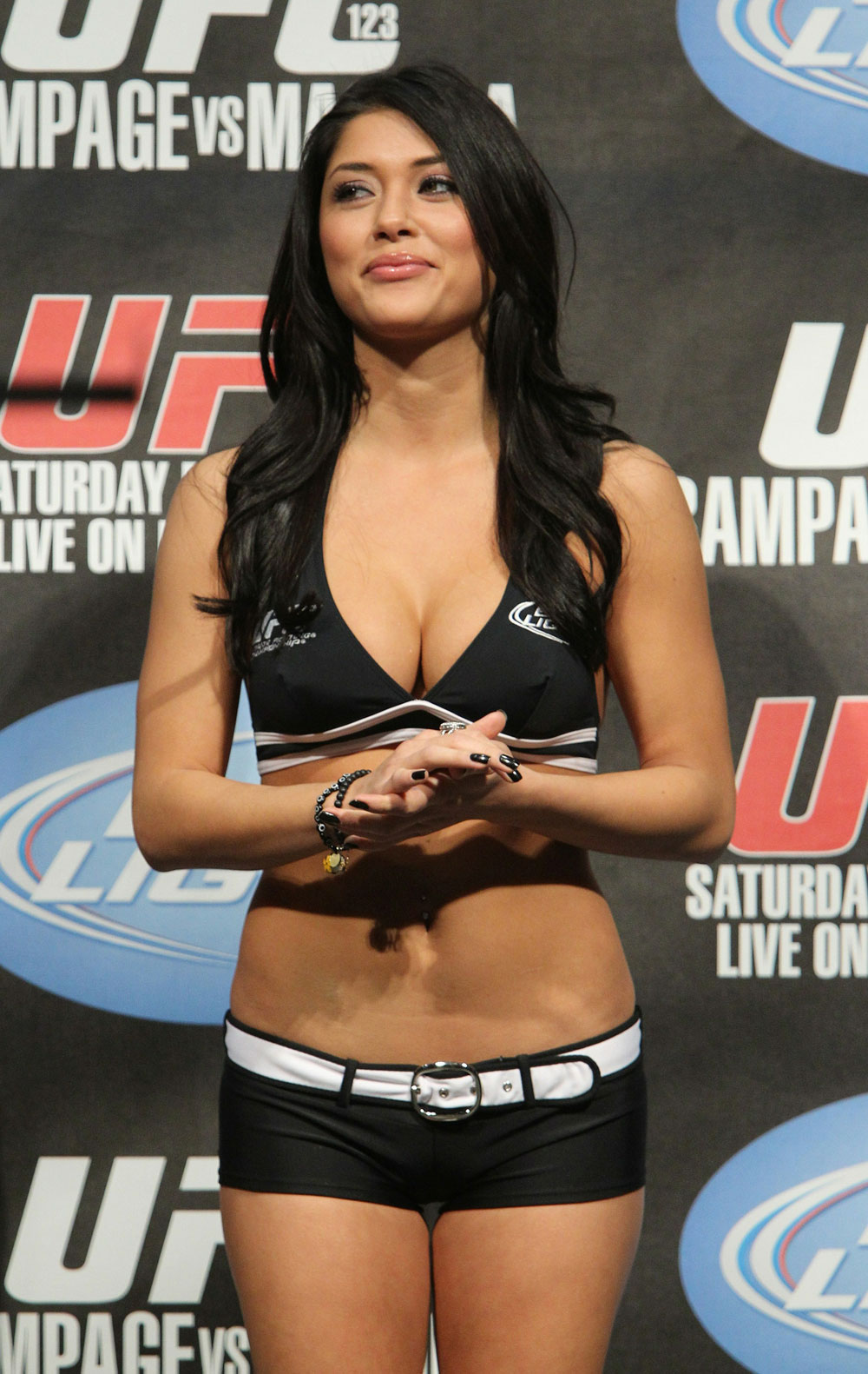 UFC Octagon Girl Arianny Celeste at the UFC 123 weigh-in at the Palace of Auburn Hills on November 19, 2010 in Auburn Hills, Michigan.  (Photo by Josh Hedges/Zuffa LLC/Zuffa LLC via Getty Images)