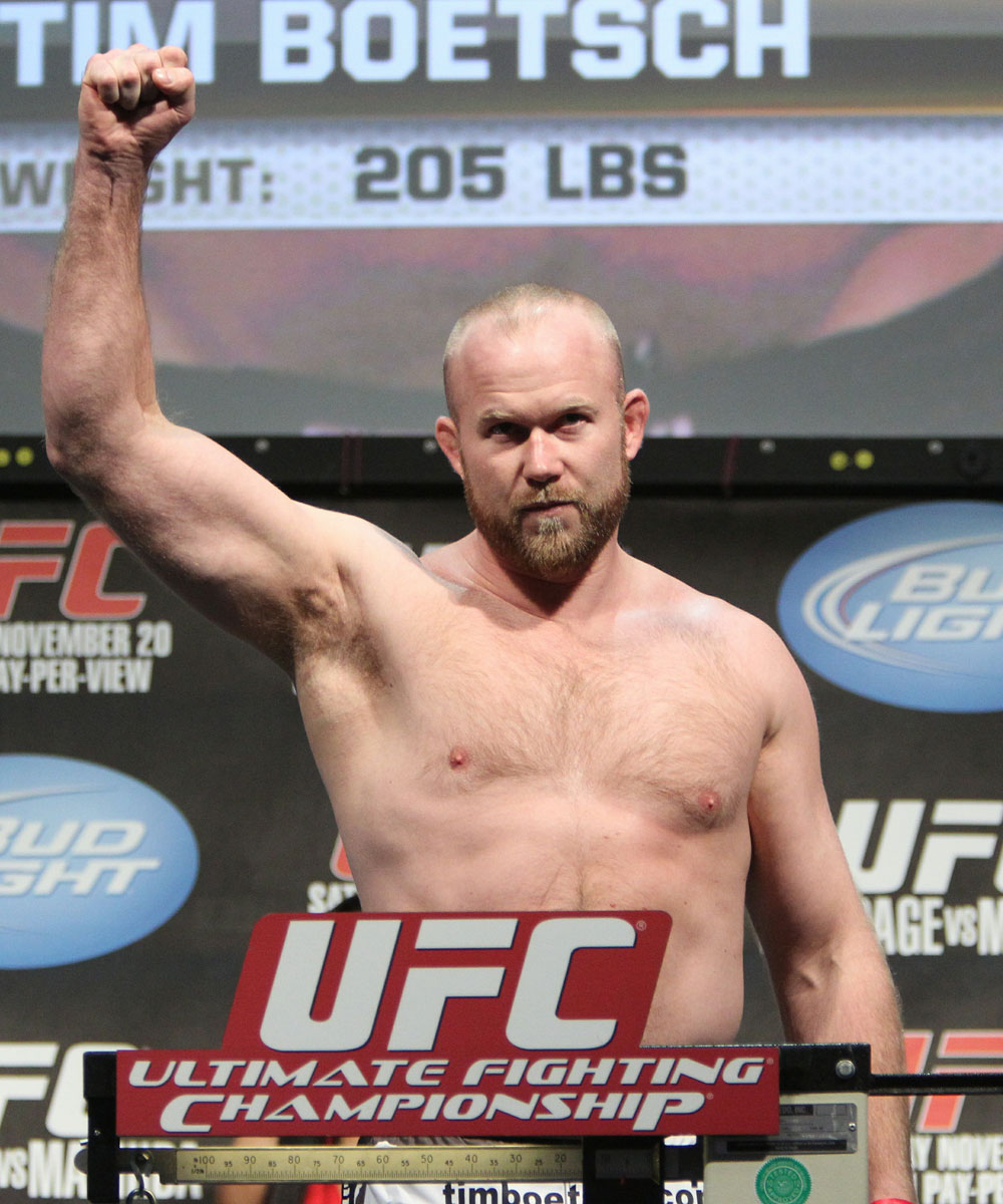 "Tim ""The Barbarian"" Boetsch weighs in at 205 lbs at the UFC 123 weigh-in at the Palace of Auburn Hills on November 19, 2010 in Auburn Hills, Michigan.  (Photo by Josh Hedges/Zuffa LLC/Zuffa LLC via Getty Images)"