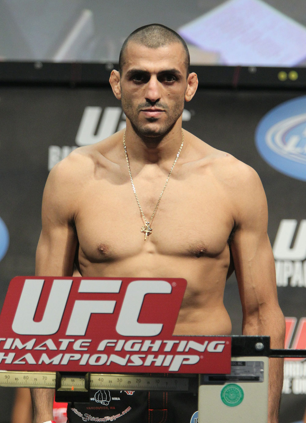 George Sotiropoulos weighs in at 155 lbs at the UFC 123 weigh-in at the Palace of Auburn Hills on November 19, 2010 in Auburn Hills, Michigan.  (Photo by Josh Hedges/Zuffa LLC/Zuffa LLC via Getty Images)