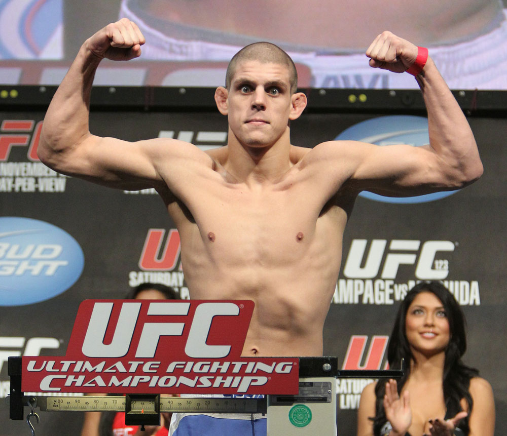 Joe Lauzon weighs in at 155 lbs at the UFC 123 weigh-in at the Palace of Auburn Hills on November 19, 2010 in Auburn Hills, Michigan.  (Photo by Josh Hedges/Zuffa LLC/Zuffa LLC via Getty Images)