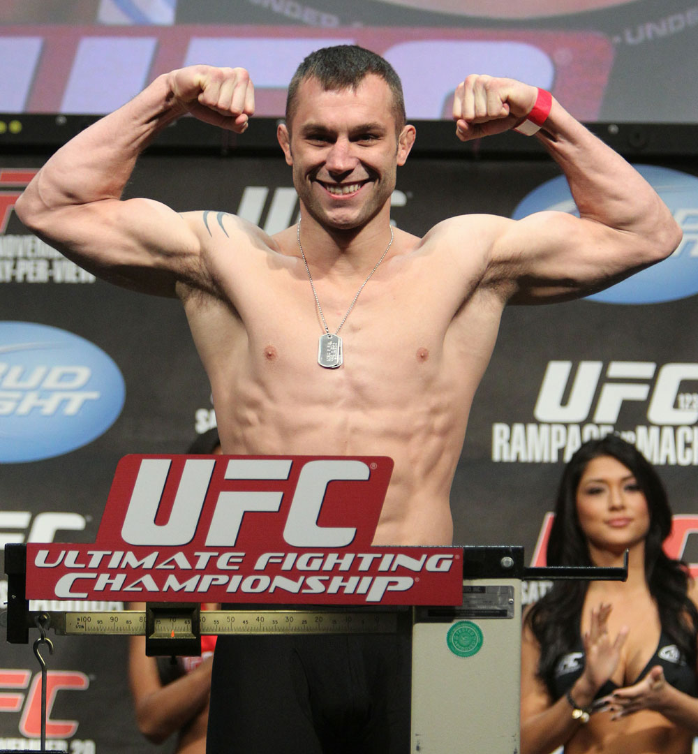 Brian Foster weighs in at 170 lbs at the UFC 123 weigh-in at the Palace of Auburn Hills on November 19, 2010 in Auburn Hills, Michigan.  (Photo by Josh Hedges/Zuffa LLC/Zuffa LLC via Getty Images)