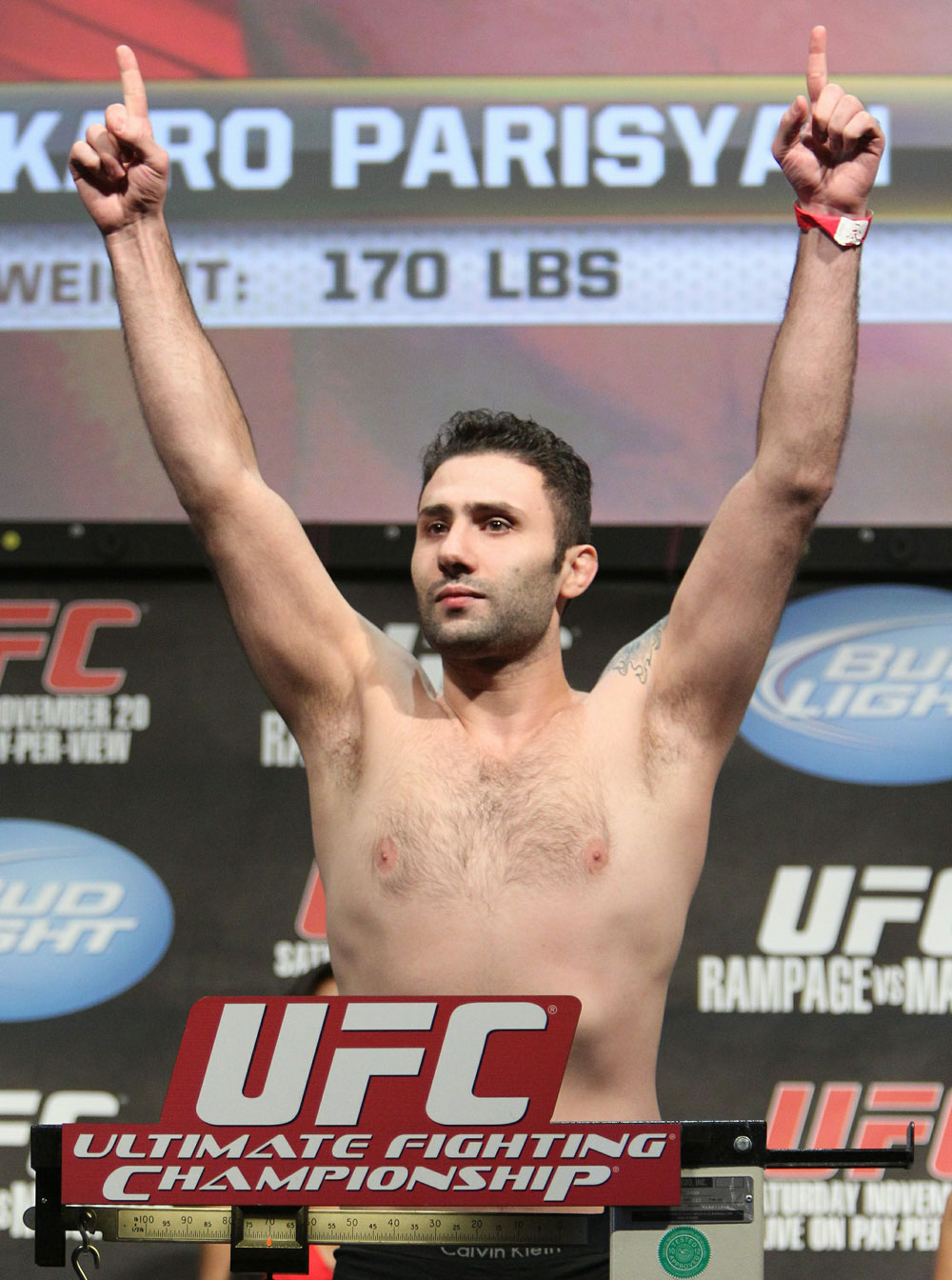 Karo Parisyan weighs in at 170 lbs at the UFC 123 weigh-in at the Palace of Auburn Hills on November 19, 2010 in Auburn Hills, Michigan.  (Photo by Josh Hedges/Zuffa LLC/Zuffa LLC via Getty Images)