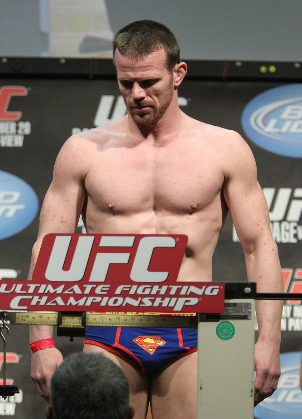 Dennis Hallman weighs in at 170 lbs at the UFC 123 weigh-in at the Palace of Auburn Hills on November 19, 2010 in Auburn Hills, Michigan.  (Photo by Josh Hedges/Zuffa LLC/Zuffa LLC via Getty Images)