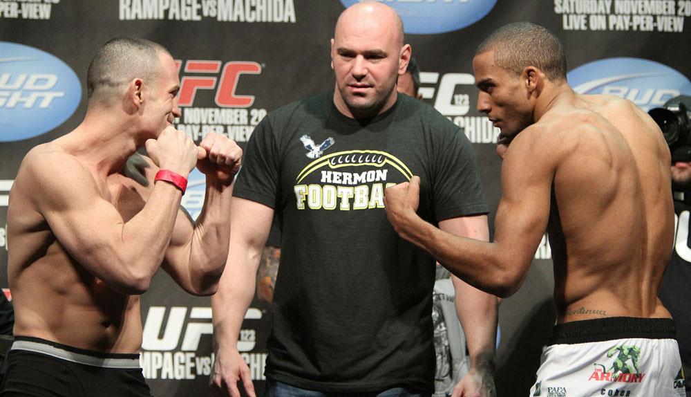 Lightweight opponents Mike Lullo (L) and Edson Barboza (R) face off as UFC President Dana White looks on at the UFC 123 weigh-in at the Palace of Auburn Hills on November 19, 2010 in Auburn Hills, Michigan.  (Photo by Josh Hedges/Zuffa LLC/Zuffa LLC via Getty Images)