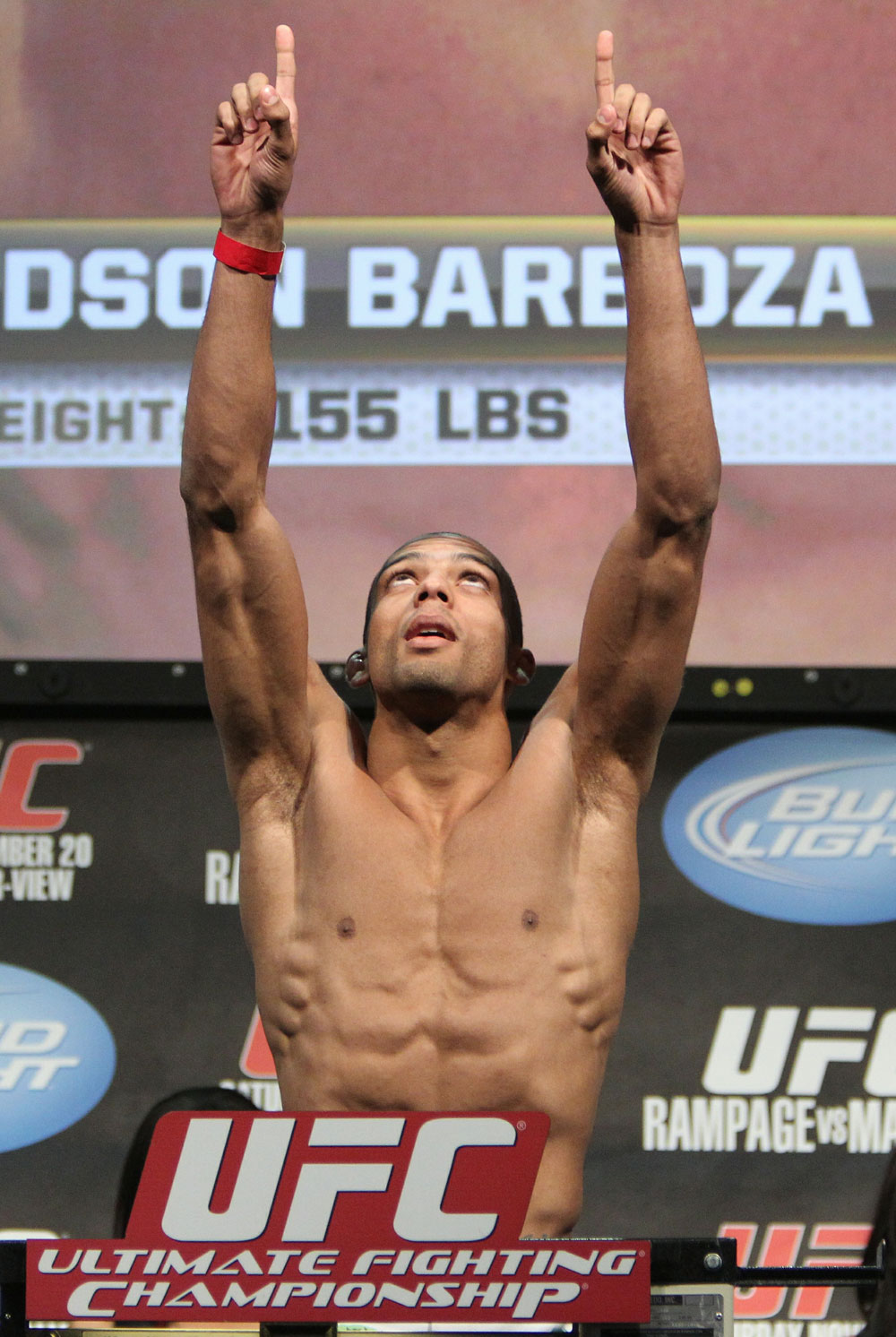 Edson Barboza weighs in at 155 lbs at the UFC 123 weigh-in at the Palace of Auburn Hills on November 19, 2010 in Auburn Hills, Michigan.  (Photo by Josh Hedges/Zuffa LLC/Zuffa LLC via Getty Images)
