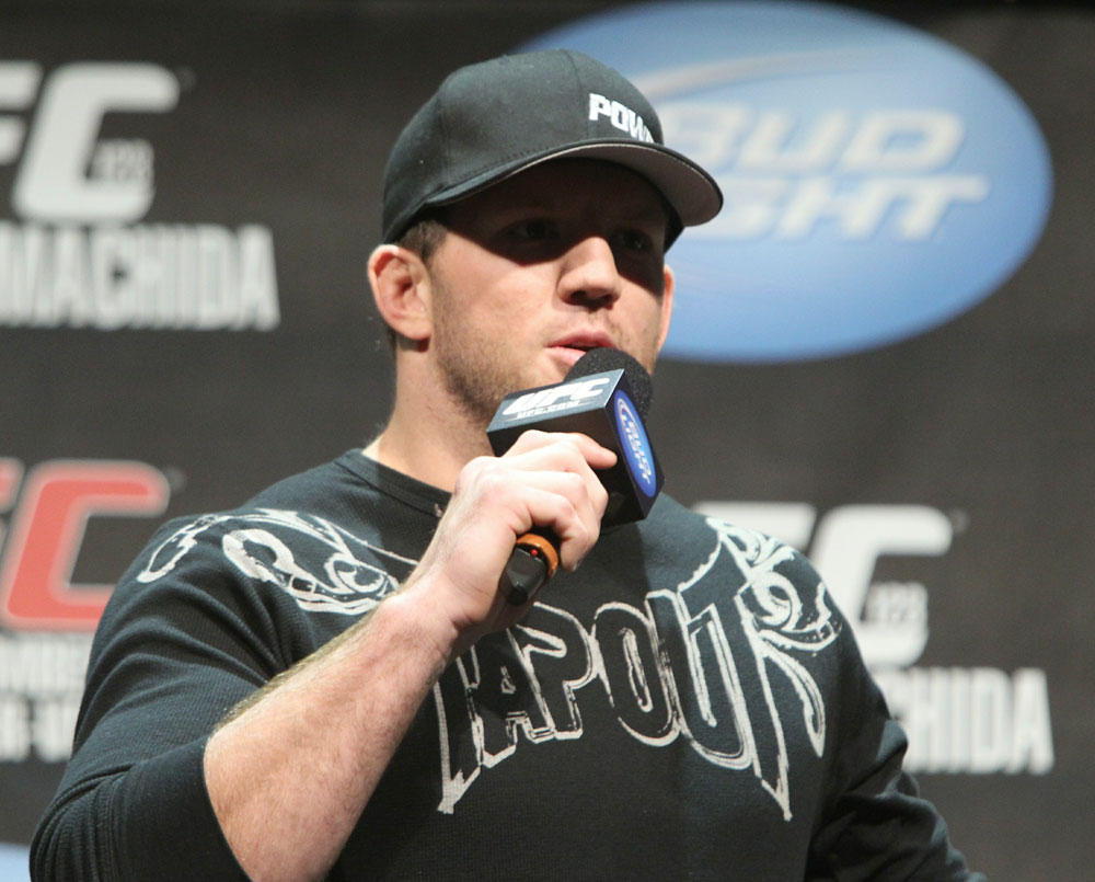 Ryan Bader interacts with fans at the UFC Fight Club Q&A before the UFC 123 weigh-in at the Palace of Auburn Hills on November 19, 2010 in Auburn Hills, Michigan.  (Photo by Josh Hedges/Zuffa LLC/Zuffa LLC via Getty Images)