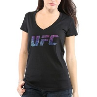 Ladies UFC Black Rainbow Confetti V-Neck T-Shirt
