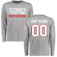 Men's Heather Gray UFC Personalized Legion Name and Number Long Sleeve T-Shirt