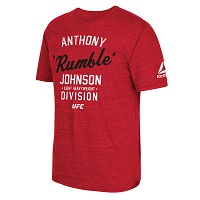 Men's Reebok Anthony Johnson Red UFC 2016 International Fight Week Stacked Retro T-Shirt
