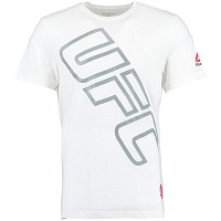 Men's Reebok White UFC Diagonal Text Tri-Blend T-Shirt
