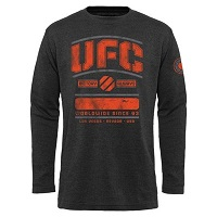 Mens UFC Black Fight Stack Thermal Long Sleeve T-Shirt