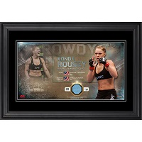 Rowdy Ronda Rousey Ultimate Fighting Championship Framed Nickname Collage with Piece of Match-Used Canvas from UFC 190