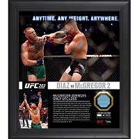 "Conor McGregor Ultimate Fighting Championship Framed 15"" x 17"" UFC 202 Win Over Nate Diaz Collage with a Piece of Canvas From UFC 202"