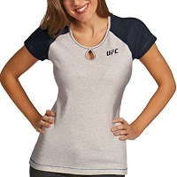 UFC Antigua Ladies Crush T-Shirt – White/Royal Blue