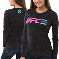 UFC Gym Womens Classic Burnout Thermal T-Shirt – Black