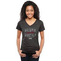 UFC Ladies Ronda Rousey Indisputable Tri-Blend V-Neck T-Shirt - Black