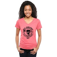 UFC Ladies Rose Namajunas RoseFist Tri-Blend V-Neck T-Shirt - Pink
