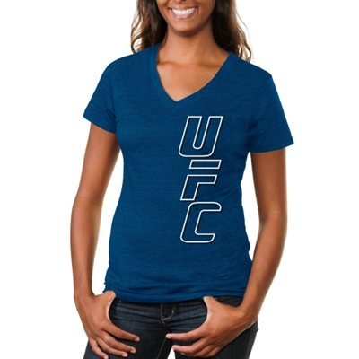 UFC Ladies Vertical Tri-Blend V-Neck T-Shirt - Royal Blue