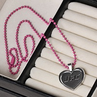 UFC Pewter Heart Pendant and Pink Chain
