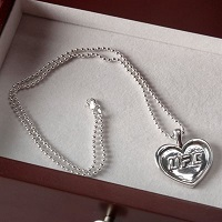 UFC Sterling Silver Heart Pendant and Chain