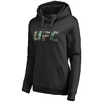 Women's Black UFC Camo Logo Pullover Hoodie