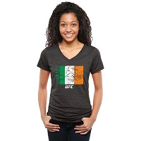 Women's Black UFC Dedication Ireland V-Neck Tri-Blend T-Shirt