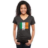 Women's Black UFC Dedication Ireland V-Neck Tri-Blend T-Shirt