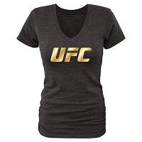 Women's Black UFC Gold Logo Tri-Blend V-Neck T-Shirt