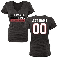 Women's Black UFC Personalized Legion Name & Number Tri-Blend V-Neck T-Shirt
