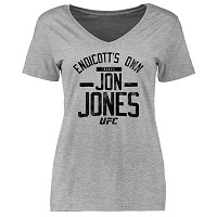 Women's Fanatics Apparel Jon Jones Ash UFC Firebrand Slim Fit T-Shirt
