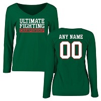 Women's Green UFC Personalized Legion Name and Number Long Sleeve T-Shirt