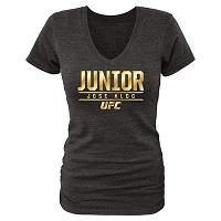 WWomen's Jose Aldo Black UFC Haymaker Tri-Blend V-Neck T-Shirt