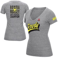 Women's Reebok Ronda Rousey Heather Gray UFC Dimensional T-Shirt