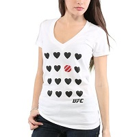 Women's UFC White Multi Heart V-Neck T-Shirt