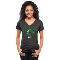 UFC Ladies Brazil Allegiance Tri-Blend V-Neck T-Shirt - Black
