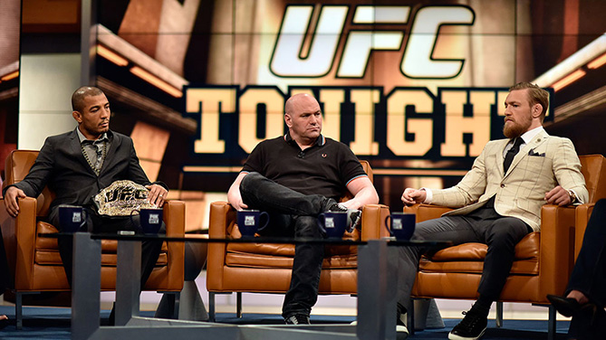 Aldo (left), White & McGregor on set of UFC Tonight in L.A.