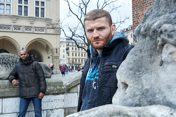 KRAKOW, POLAND - FEBRUARY 24: (L) Jimi Poster Boy Manuwa from USA and (R) Jan Blachowicz from Poland pose for a portrait during a UFC photo session on February 24, 2015 in Krakow, Poland.(Photo by Adam Nurkiewicz/Zuffa LLC/Zuffa LLC via Getty Images)