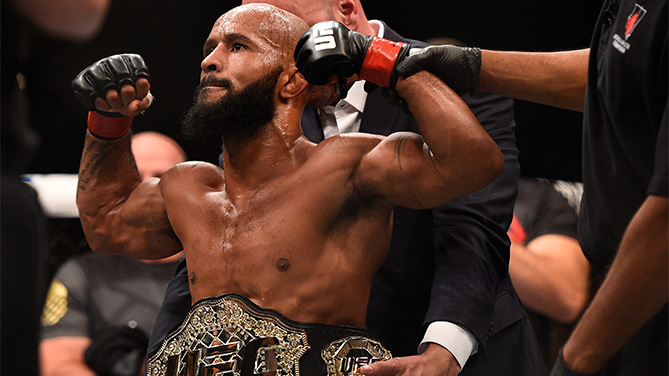 Demetrious Johnson reacts after his victory over John Dodson in their flyweight championship bout during the UFC 191 event inside MGM Grand Garden Arena on September 5, 2015 in Las Vegas, Nevada. (Photo by Jeff Bottari/Zuffa LLC)