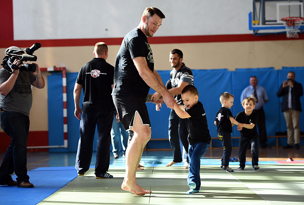 KRAKOW, POLAND - APRIL 09: UFC hall of famer Forrest Griffin interacts with students during a training demonstration session at the Hajime Krakow Jiu-Jitsu School on April 9, 2015 in Krakow, Poland. (Photo by Jeff Bottari/Zuffa LLC/Zuffa LLC via Getty Images)