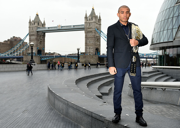 UFC Featherweight Champion Jose Aldo poses for photographs during the UFC 189 World Championship Press Tour on March 30, 2015 in London, England. (Photo by Tom Dulat/Zuffa LLC via Getty Images)