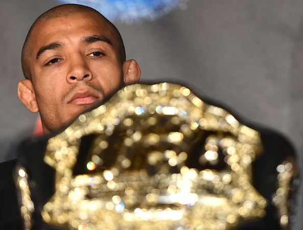 UFC Featherweight Champion Jose Aldo looks on during the UFC 189 World Championship Press Tour on March 30, 2015 in London, England. (Photo by Tom Dulat/Zuffa LLC via Getty Images)